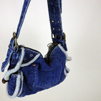Vintage 80s 90s GAP Blue Denim Hand Bag // Faux Sheepskin Piping // Soft Grunge Purse // One Size Fits All