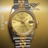 Rolex Datejust 18k Yellow Gold/Steel Dial Midsize Ladies Watch E 68273