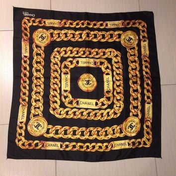 LMFMS6 Vtg BL Chanel Black Scarf With Yellow/ Gold Chain Pattern