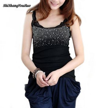 Women's Rhinestone Lace Stunning Based Sleeveless Vest Tank Top Tee T-Shirt Black White Gray