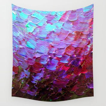 MERMAID SCALES - Colorful Ombre Abstract Acrylic Impasto Painting Violet Purple Plum Ocean Waves Art Wall Tapestry by EbiEmporium
