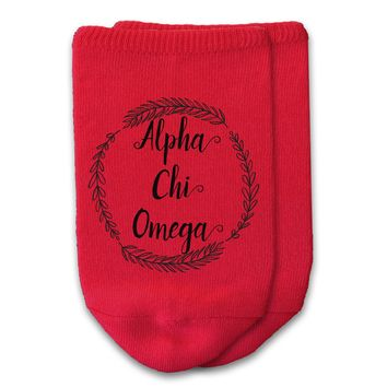 Alpha Chi Omega - Sorority Name with Wreath No-Show Socks