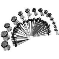 Ear Gauges Stretching Kit Tapers with Plugs Steel Single Flared 12G,10G,8G,6G,4G,2G Gauge Kit (18 Pieces)