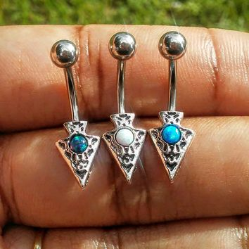 Arrow head Opal 14 gauge stainless steel belly button ring, navel ring, body jewelry