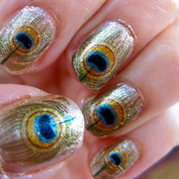 GODDESS OF LOVE Oshun Nail Decals Peacock Feathers