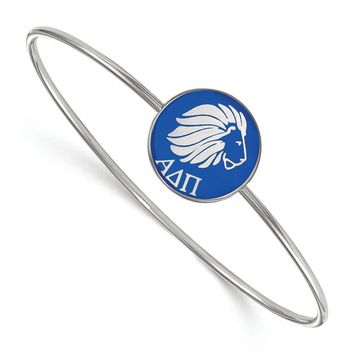 Sterling Silver Alpha Delta Pi Enamel Bangle - 7 in.