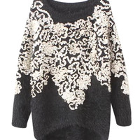 Long Sleeve Embroidered Knit Sweater