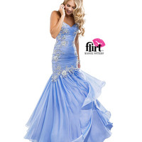 Flirt by Maggie Sottero 2014 Prom Dresses - French Blue Pleated Chiffon Fit & Flare Dress with Beaded Lace