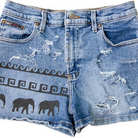 Tribal Aztec Elephant Waves Shorts Hand Painted Vintage Distressed High Waisted Denim Boho Coachella Hipster Small Medium W28