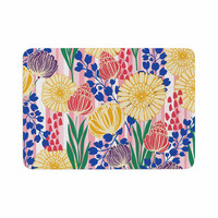 "Amy Reber ""Pretty Bouquet"" Yellow Floral Memory Foam Bath Mat"