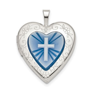 Sterling Silver 20mm Blue Resin Cross Cameo Heart Locket QLS782
