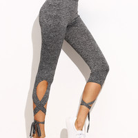Light Grey High Waist Criss Cross Tie Leggings | MakeMeChic.COM