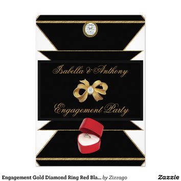 Engagement Gold Diamond Ring Red Black Party Custom Invitations from Zazzle.com
