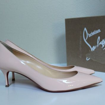 7.5 / 38 Christian Louboutin Pink Pigalle Follies Pointed Toe Low Heel Pump Shoe