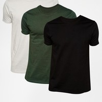 ASOS Slim Fit T-Shirt With Crew Neck 3 Pack Save 17%