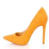 Tan Snake Textured Single Sole Pump Heels Faux Leather