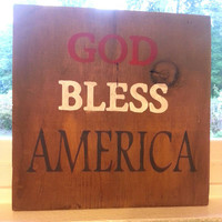 Barn wood Sign on Rustic, Reclaimed pallet Wood, God Bless America, Red White Blue Patriotic, independence, 4th of July, Americana, USA