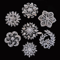 14pcs Rhinestone Brooch Set