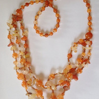 SUMMER SALE Vintage Red carnelian Quartz Stone And Acrylic Necklace