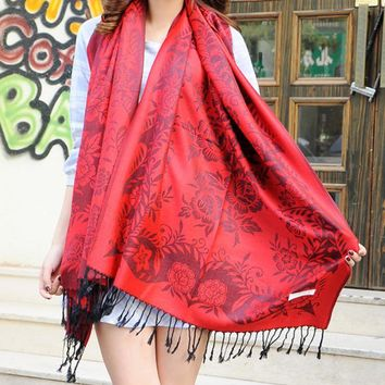fashion women s rose flower scarf cape wrap shawl 2