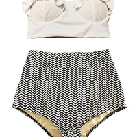 White Midkini Top and Monogram Chevron High waisted waist Bottom Swimwear Swimsuit, High waisted waist Bikini 2PC Bathing suit Swim wear S M