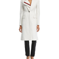 CALVIN KLEIN 205W39NYC Notched-Collar Single-Breasted Coat with Stripe Placket