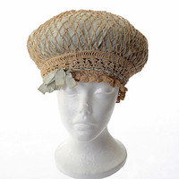 Antique Victorian Crochet Bonnet Edwardian Sleeping Hat Bed Bonnet Vintage Boudoir Cap