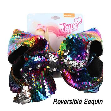 "8"" Mermaid Reversible JoJo Sequin Bow Hair Clip For Kids Girls Handmade Large Bling Jumbo Hair Bows Hairgrips Hair Accessories"