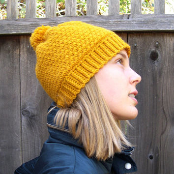 Mustard yellow Pom Pom hat, Winter Fashion 2013, wool hat, cozy hat, slouchy hat, warm hat, marykcreation