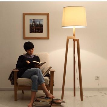 Tripod Wood Floor Lamp - Free Shipping