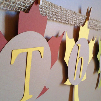 Give thanks,thanksgiving banner, fall class decor, burlap banner, thanksgiving decor, leaf banner, garland, happy thanksgiving