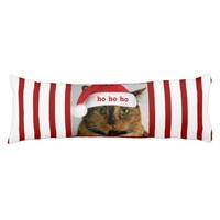 Cute Xmas Cat w Santa Cap on Red White Stripes