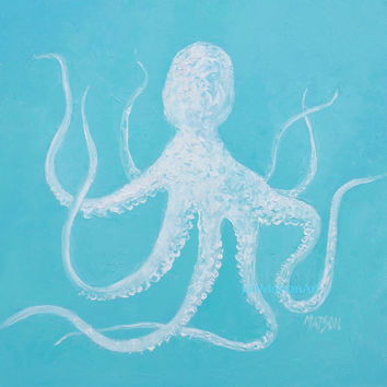 OCTOPUS painting, coastal decor, bathroom wall decor, art,beach cottage decor, beach decor, coastal wall art, coastal cottage decor, Matson