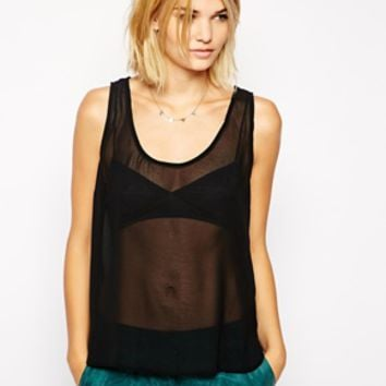 POP Cph Georgette Top with Embellished Sequins - Black