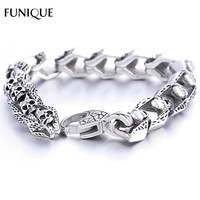 FUNIQUE Gothic Punk Small Skull Bracelet 316L Stainless Steel Bracelet Antique Silver Bangle Jewelry For Men & Women Gifts  22cm