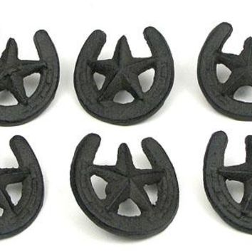 Cast Iron Star Horseshoe Drawer Pull -Set Of 6