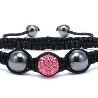 Pink Crystals Ball 12 Mm Strand Bracelet Adjustable Size 7 to 9 Inches