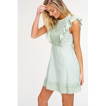 Embroidered Eyelet Dress - Sage