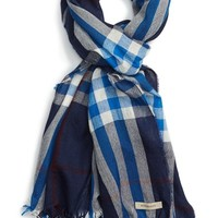 Men's Burberry Check Print Wool & Cashmere Scarf - Blue