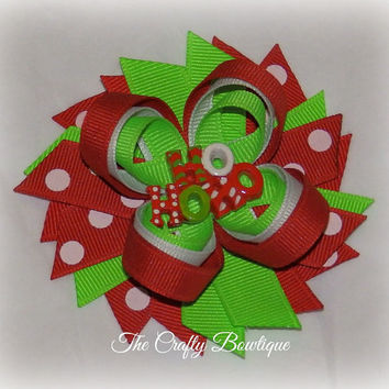 Ho Ho Ho ~ Loopy Bow with Spikes ~  Red, Neon Green & White Polka Dot ~ Christmas Hair Bows ~ Small Hair Bow ~ Bow for Head Band