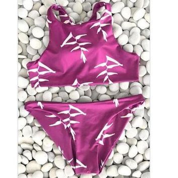 LMFIH3 Sexy new arrival red white print vest high neck two piece bikini back lace up hollow swimsuit