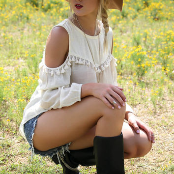 Boho Bandit Ivory Cold Shoulder Tunic Top with Cream Tassels