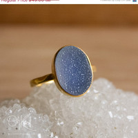 CLEARANCE SALE Gold Charcoal Grey Druzy Ring - Oval Stone Ring - Hammered Band