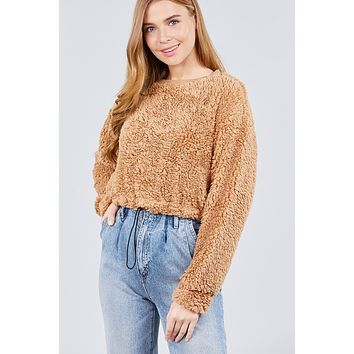 Women's Winter Fashion Long Dolman Sleeve Round Neck Toggle Elastic Hem Faux Fur Top