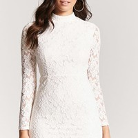 Mock Neck Lace Dress