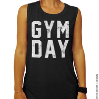 Gym Day - Black with White Muscle Tee Tank T-shirt