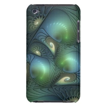Spirals Beige Green Turquoise Fantasy Fractal iPod Touch Case