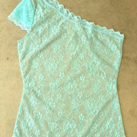 Delicate Mint Dentelle Blouse [2792] - $28.00 : Vintage Inspired Clothing & Affordable Summer Dresses, deloom | Modern. Vintage. Crafted.