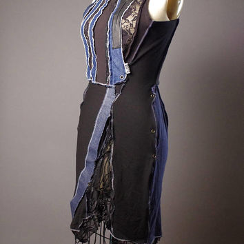 OOAK Denim Dress - Up-cycled Summer dress - Street wear - Funky - Casual Summer Dress - Dark Fashion