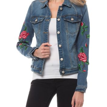 LE3NO Womens Stretchy Long Sleeve Denim Jacket with Floral Embroidery